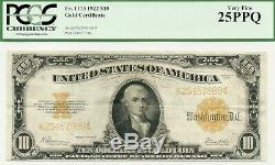 1922 $10 Large Size Gold Certificate Attractive & Bright Pcgs Very Fine 25 Ppq