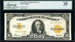 1922 $10 Star Note Gold Certificate Fr. 1173 Very Fine 718754D