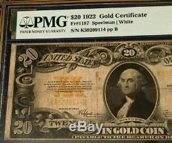 1922 $20 GOLD CERTIFICATE PMG20 VERY FINE Fr#1187 SPEELMAN/WHITE LEGALTENDER