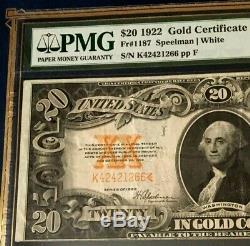 1922 $20 GOLD CERTIFICATE PMG30 EPQ VERY FINE Fr#1187 SPEELMAN/WHITE LEGALTENDER