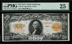 1922 $20 Gold Certificate FR-1187 Graded PMG 25 Very Fine