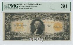 1922 $20 Gold Certificate FR#1187 PMG Very Fine 30