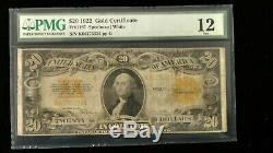 1922 $20 Gold Certificate Fine-12 PMG Fr#1187
