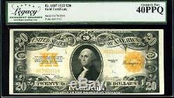 1922 $20 Gold Certificate Fr. 1187 Extremely Fine PPQ #K67056561