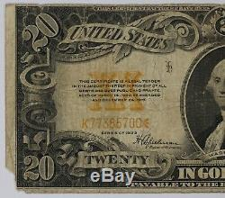 1922 $20 Gold Certificate Fr#1187 Net Fine Corner Damage (700)