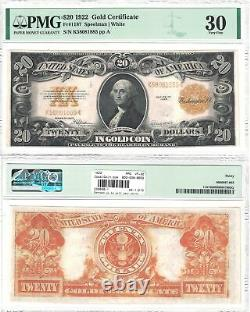 1922 $20 Gold Certificate Fr 1187 PMG Very Fine-30