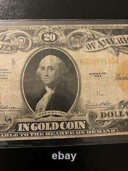 1922 $20 Gold Certificate Large Size Note Speelman White Fr 1187 Very Fine