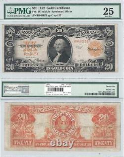 1922 $20 Gold Certificate Mule Fr 1187m PMG Very Fine-25