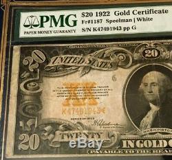 1922 $20 Gold Certificate Pmg20 Very Fine, Speelman/white Legaltender, Nice