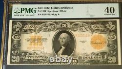 1922 $20 Gold Certificate Pmg40 Extremely Fine, Speelman/white, Beautiful 3760