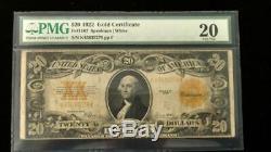 1922 $20 Gold Certificate Very Fine-20 PMG Fr#1187