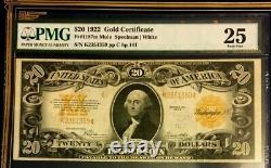 1922 $20 Large Gold Certificate Pmg 25 Very Fine, Mule, Speelman/white