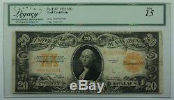 1922 $20 Twenty Dollar Gold Certificate Note Fr. 1187 Legacy Fine 15