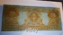 1922 $20 US Gold Certificate Large Note, Fr#1187 S/N K75892552 Fine/VF