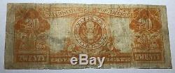 1922 $20 U. S. Gold Certificate. Fine. FR-1187 K22202675 #ner