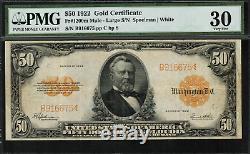 1922 $50 Gold Certificate Mule FR-1200m PMG 30 Very Fine
