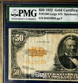 1922 $50 Gold Certificate Pmg25 Very Fine Large, Fr#1200, Speelman/white, Rare