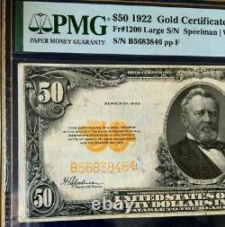 1922 $50 Large S/n Gold Certificate Pmg25 Very Fine Speelman/white 3668