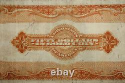 1922 $50 Large Size Gold Certificate Yellow Seal Grading Very Fine (JENA-275)