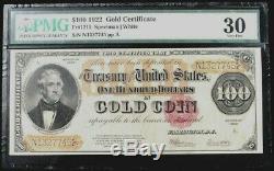 1922 Gold $100 Certificate Fr #1215 Pmg Very Fine 30