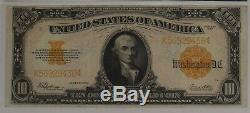 1922 Gold Certificate $10 Note Currency Large Size Pmg Cert 30 Vf Very Fine 436
