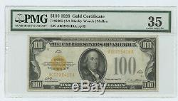 1928 $100 Fr-2405 Gold Certificate PMG 35 CHOICE VERY FINE #D15407