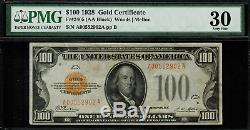 1928 $100 Gold Certificate FR-2405 Graded PMG 30 Comment Very Fine