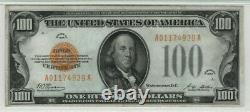 1928 $100 Gold Certificate Note Fr. 2405 Aa Block Pmg Choice Very Fine Vf 35