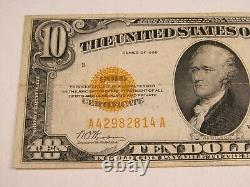 1928 $10 Dollar Gold Certificate Paper Note Fine-VF