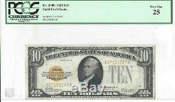 1928 $10 Gold Certificate FR-2400 PCGS VF25 Very Fine Yellow Seal Note
