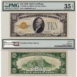 1928 $10 Gold Certificate Fr#2400 PMG Certified Choice Very Fine 35 EPQ