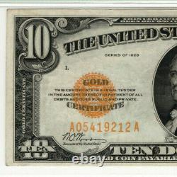 1928 $10 Gold Certificate Note Fr. 2400 Aa Block Pmg Choice Very Fine Vf 35(212a)