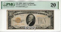 1928 $10 Gold Certificate Note Fr. 2400 Aa Block Pmg Very Fine Vf 20 (120a)