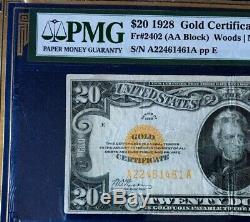 1928 $20 GOLD CERTIFICATE LEGAL TENDER WOODS/MELLON, PMG 25 VERY FINE Fr#2402