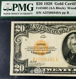 1928 $20 GOLD CERTIFICATE PMG 40 EXTREMELY FINE, WOODS/MELLON (AA Block) Fr#2402