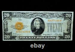 1928 $20 Gold Certificate Ch-vf Very Fine Yellow Seal Scarce 390 Trusted