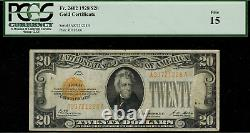 1928 $20 Gold Certificate FR-2402 Graded PCGS 15 Fine