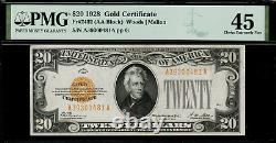 1928 $20 Gold Certificate FR-2402 Graded PMG 45 Choice Extremely Fine