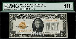 1928 $20 Gold Certificate FR-2402 Star Note PMG 40 EPQ Extremely Fine