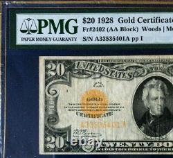 1928 $20 Gold Certificate Pmg25 Very Fine, Woods/mellon, (aa Block) 3724