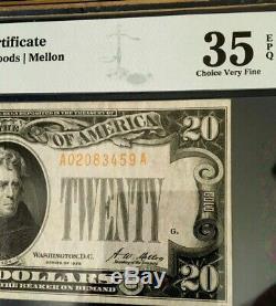 1928 $20 Gold Certificate Pmg35 Epq Choice Very Fine Legal Tender Woods/mellon