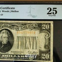 1928 $20 Gold Certificate Pmg 25 Very Fine, Woods/mellon