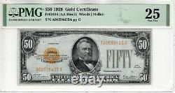1928 $50 Gold Certificate Note Fr. 2404 Aa Block Pmg Very Fine Vf 25 (435a)