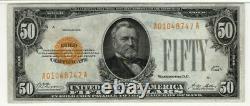 1928 $50 Gold Certificate Note Fr. 2404 Aa Block Pmg Very Fine Vf 25 (747a)