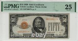 1928 $50 Gold Certificate Note Fr. 2404 Aa Block Pmg Very Fine Vf 25 (807a)