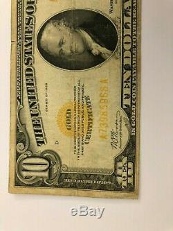 1928 United States 10 Dollar Gold Certificate Banknote Circulated (Fine)