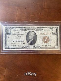1929 $10 Brown National Currency St. Louis X091 FINE! Old US Paper Currency