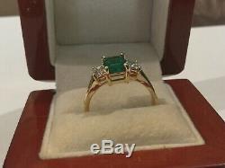 1.08CTW COLUMBIAN EMERALD & 0.50CTW DIAMOND 18K GOLD RING certificate appraisal
