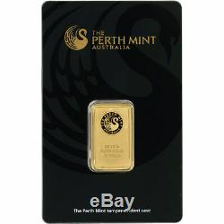 (1) 10 Gram Perth Mint Gold Bar Sealed 99.99 Fine With Assay Certificate