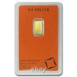 1 Gram 999.9 Fine Gold Bullion Bar 24K VALCAMBI SUISSE w ASSAY CERTIFICATE